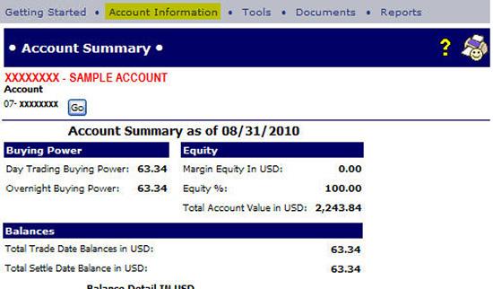 Account Summary Page